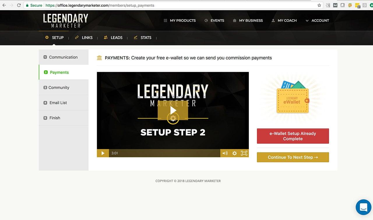 Legendary Marketer e-Wallet Payments